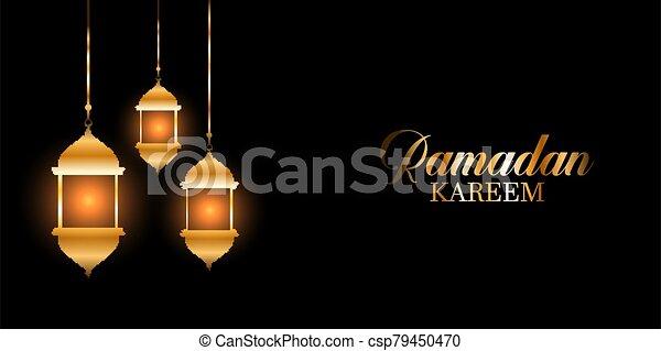 ramadan kareem background with glowing hanging lanterns 0603 - csp79450470