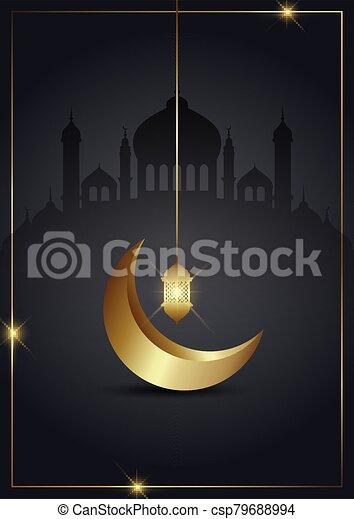 ramadan kareem background with gold crescent and lantern 2703 - csp79688994