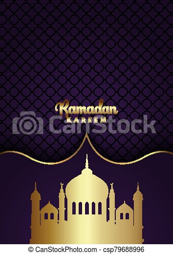 ramadan kareem background with gold mosque silhouettes 3003 - csp79688996