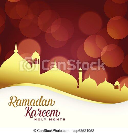 ramadan kareem background with golden mosque - csp68521052