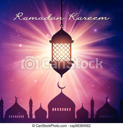 Ramadan Kareem background with hanging lantern and mosque silhouette - csp56384562