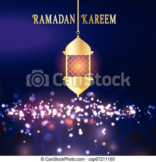 Ramadan Kareem background with hanging lantern - csp67211160