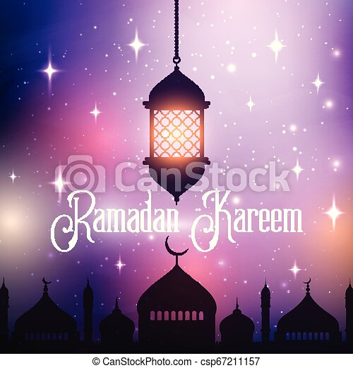 ramadan kareem background with hanging lantern and mosque silhouette 0803 - csp67211157