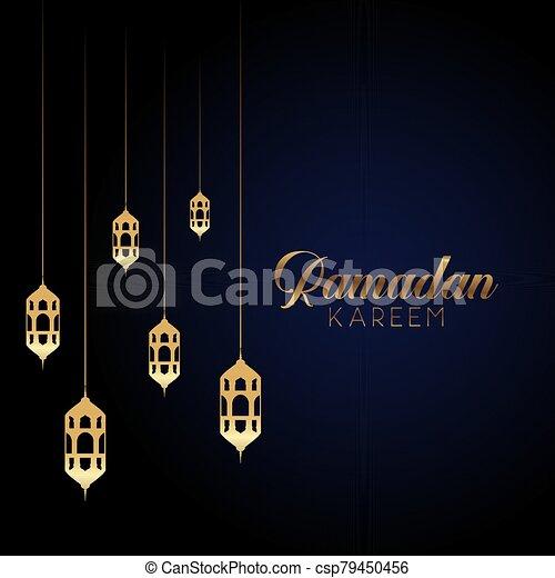 ramadan kareem background with hanging lanterns 1603 - csp79450456