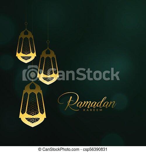 ramadan kareem background with hanging lanterns - csp56390831