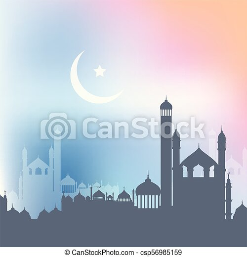 ramadan kareem background with landscape of mosques 2404 - csp56985159