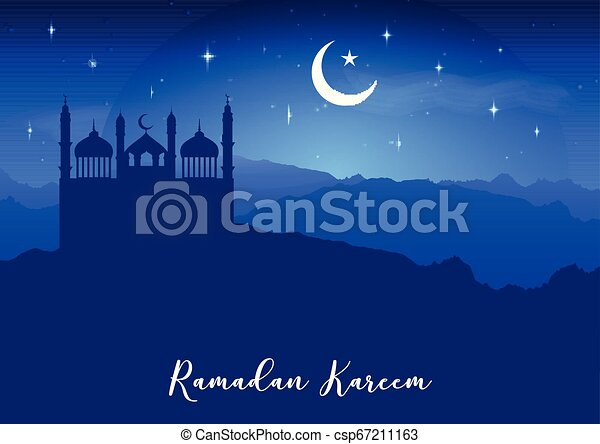 Ramadan Kareem background with mosque silhouettes against night sky - csp67211163