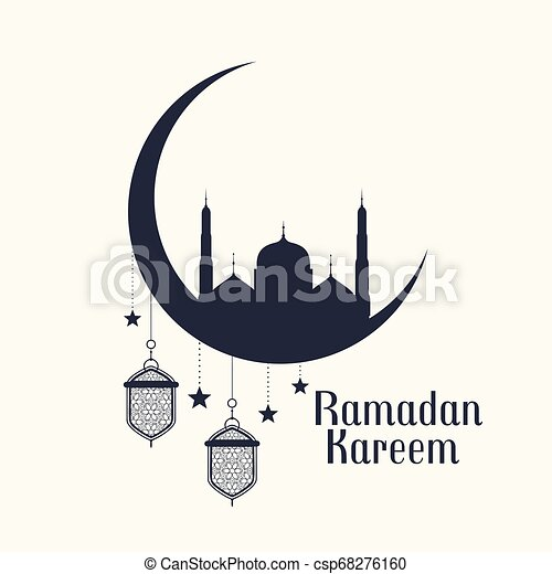 ramadan kareem background with mosque and lamps - csp68276160