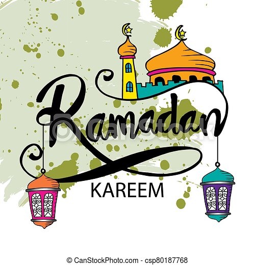 Ramadan kareem background with mosque and hanging lamps. - csp80187768