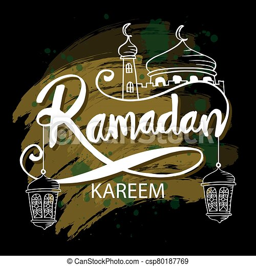 Ramadan kareem background with mosque and hanging lamps. - csp80187769