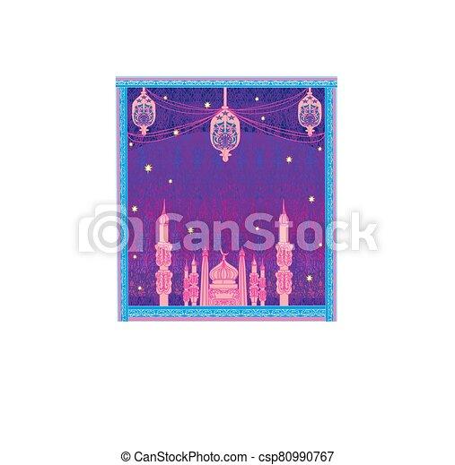 Ramadan Kareem background with mosque silhouettes - csp80990767