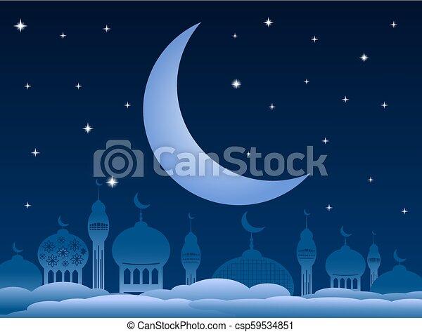 Ramadan kareem background with mosque and moon on night sky. Vector Illustration - csp59534851