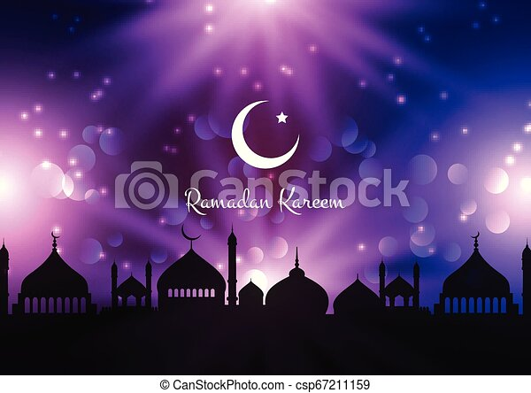 Ramadan Kareem background with mosque silhouettes against night sky - csp67211159