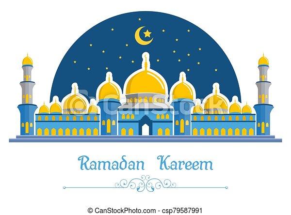 Ramadan kareem background with mosque - csp79587991