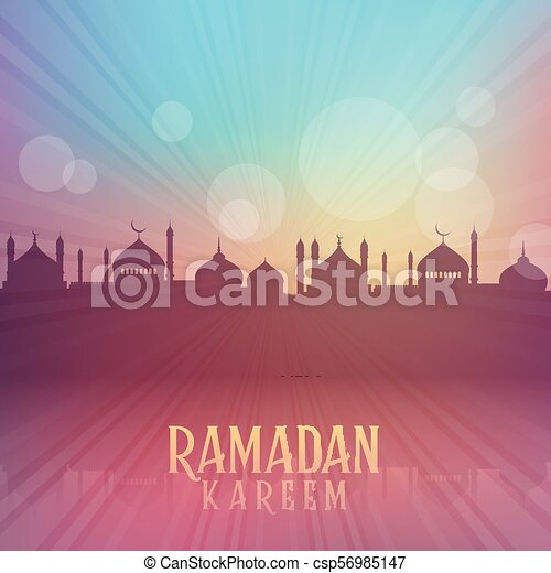 Ramadan Kareem background with mosque silhouettes - csp56985147