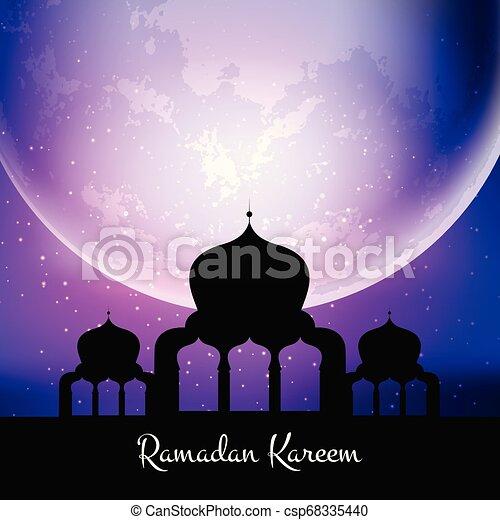 ramadan kareem background with mosque against moon 0504 - csp68335440