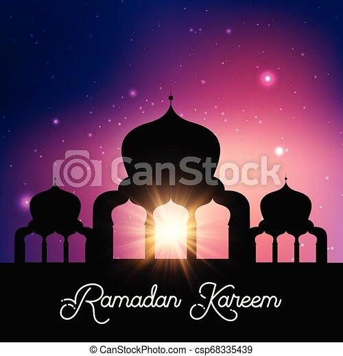 Ramadan Kareem background with mosque silhouette against night sky - csp68335439