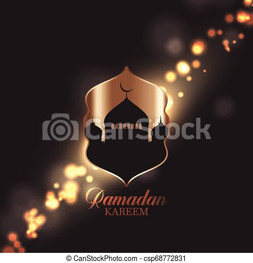 Ramadan Kareem background with mosque silhouette on bokeh lights design - csp68772831
