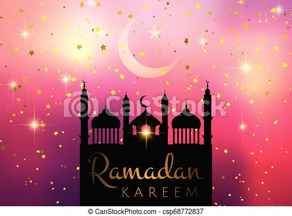 Ramadan Kareem background with mosque silhouette on starry background - csp68772837