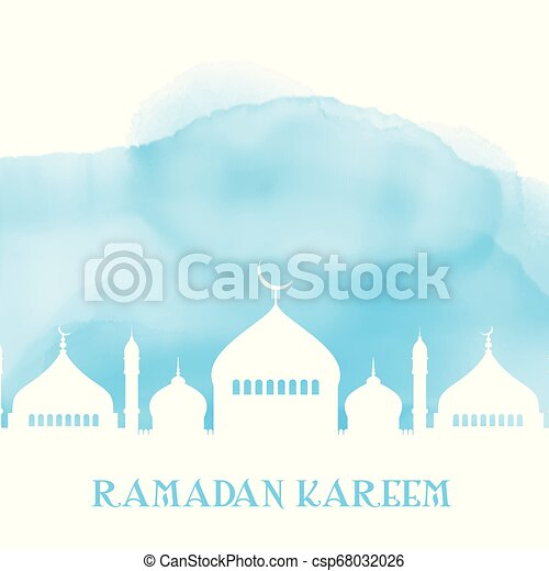 ramadan kareem background with mosque silhouette on watercolour texture 2103 - csp68032026