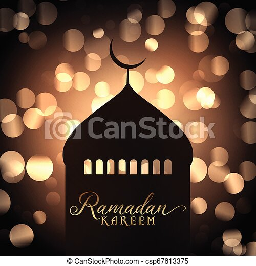 Ramadan Kareem background with mosque silhouette against gold bokeh lights - csp67813375