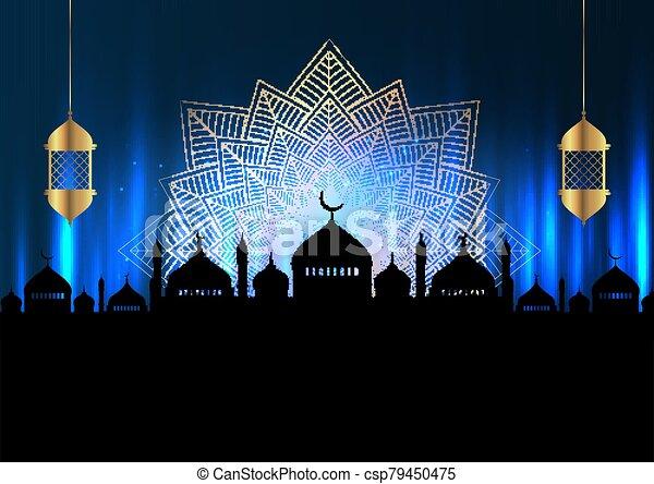 Ramadan Kareem background with mosque silhouettes and hanging lanterns 1603 - csp79450475