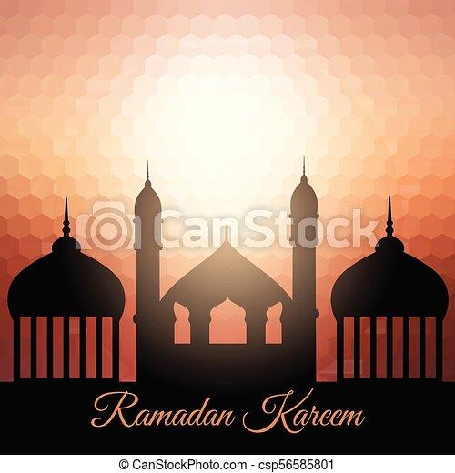 ramadan kareem background with mosque silhouette 1204 - csp56585801