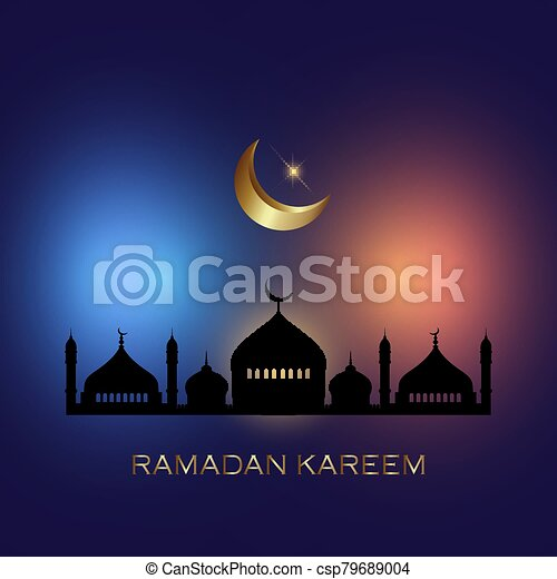 ramadan kareem background with mosque silhouettes 3003 - csp79689004