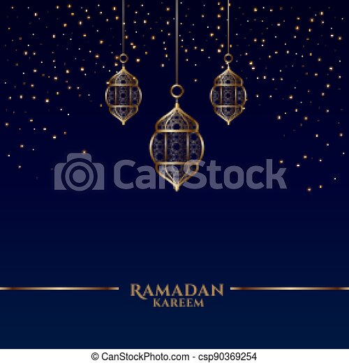 ramadan kareem card with islamic hanging lanterns - csp90369254