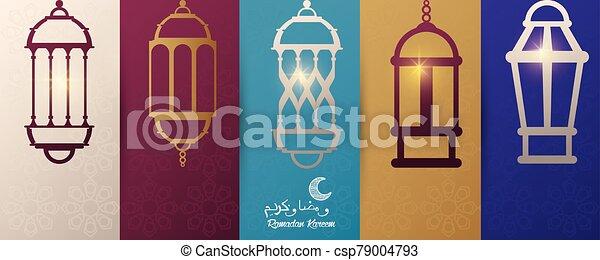 ramadan kareem card with lanterns hanging - csp79004793