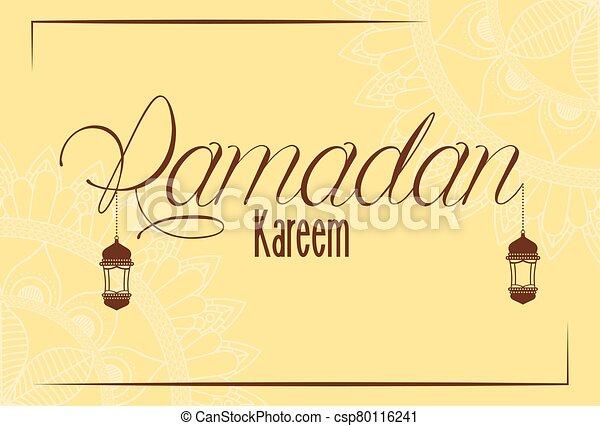 Ramadan kareem card with lanterns hanging - csp80116241
