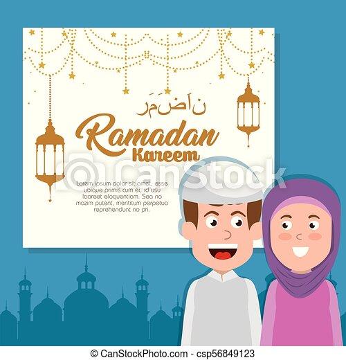 ramadan kareem card with lanterns hanging - csp56849123