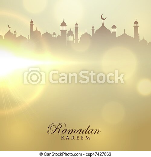 ramadan kareem card with mosque silhouette - csp47427863