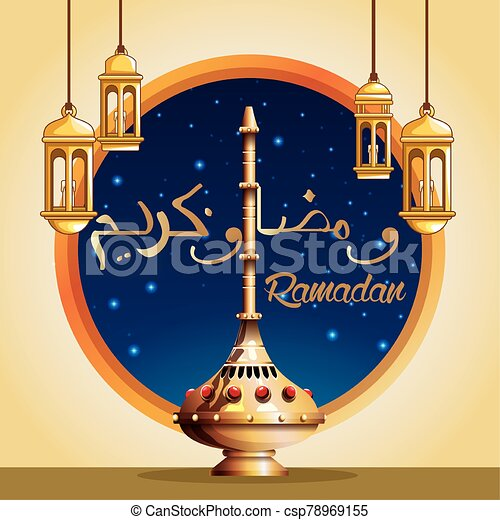 ramadan kareem celebration card with lanterns hanging - csp78969155