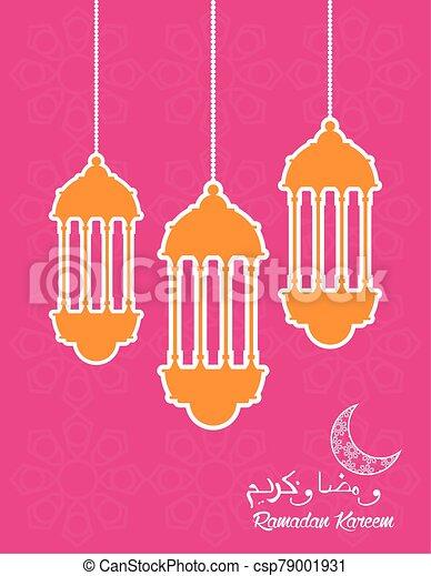 ramadan kareem celebration card with lanterns hanging - csp79001931