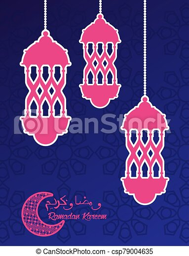 ramadan kareem celebration card with lanterns hanging - csp79004635