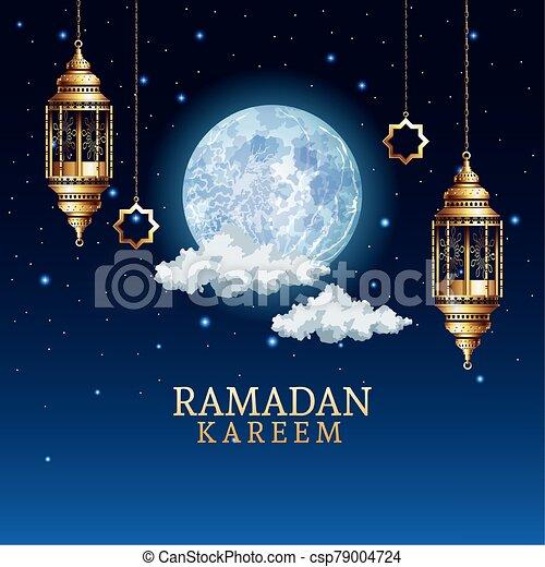 ramadan kareem celebration with golden lanterns hanging - csp79004724