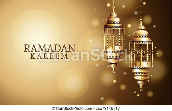 ramadan kareem celebration with golden lanterns hanging - csp79146717