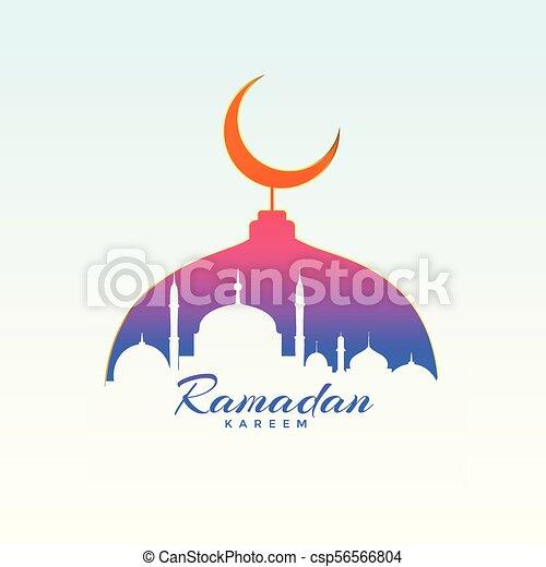 ramadan kareem design with mosque silhouette - csp56566804