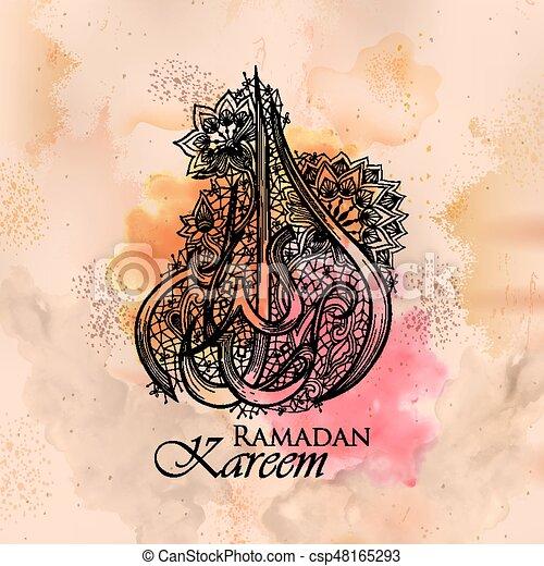 Illustration of illuminated lamp on ramadan kareem generous ramadan ramadan kareem generous ramadan greetings in arabic freehand calligraphy csp48165293 m4hsunfo