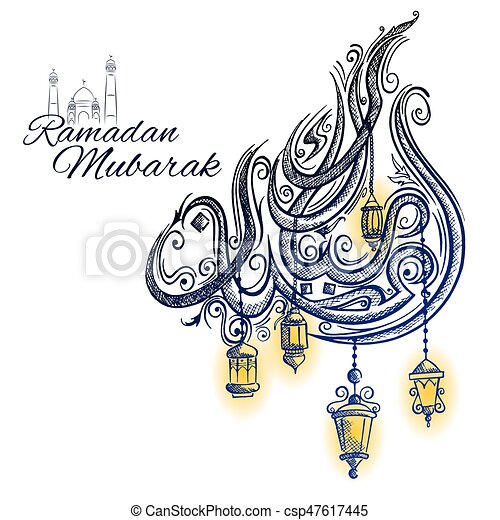 Illustration of illuminated lamp on ramadan kareem generous eps ramadan kareem generous ramadan greetings in arabic freehand calligraphy csp47617445 m4hsunfo