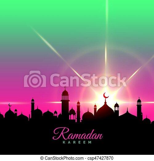 ramadan kareem greeting background with mosque silhouette - csp47427870