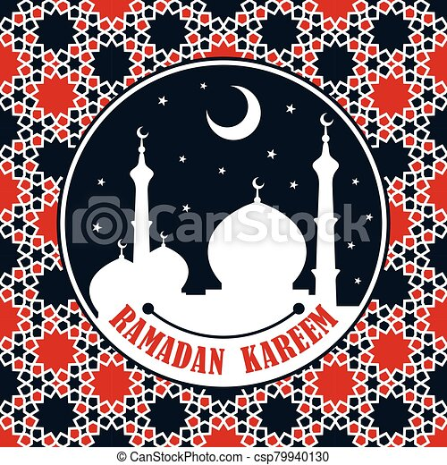 Ramadan Kareem greeting card or banner with Mosque silhouette - csp79940130