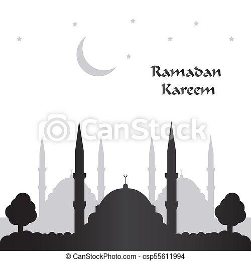 Ramadan Kareem Greeting Card With Black Background Vector Illustration