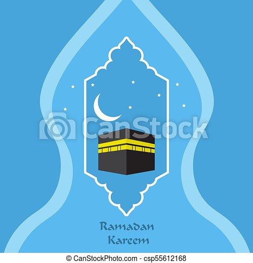 Ramadan Kareem Greeting Card With Islamic Ornaments And Kaaba Vector Illustration