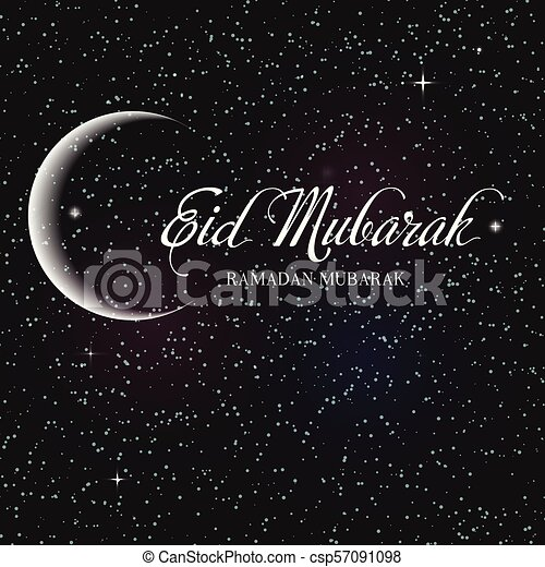 Ramadan Kareem greeting card with realistic moon with stars in the sky   Vector