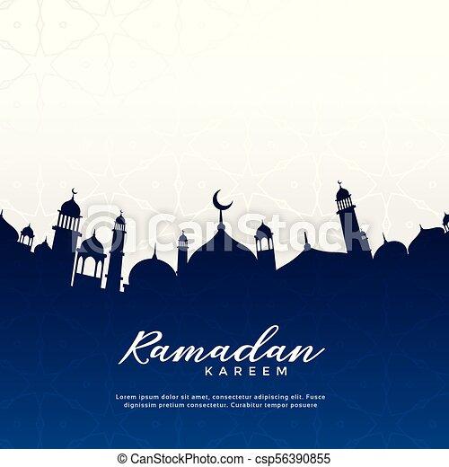 ramadan kareem greeting design with mosque silhouette - csp56390855