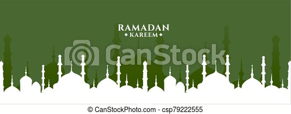 ramadan kareem greeting with mosque design banner - csp79222555
