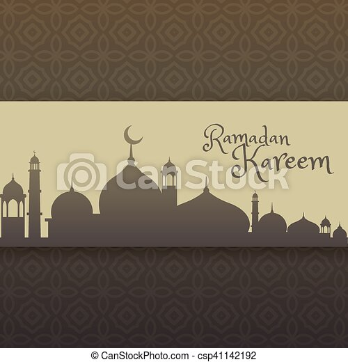 ramadan kareem greeting with mosque silhouette - csp41142192