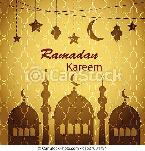 Ramadan Kareem greetings background - csp27804734